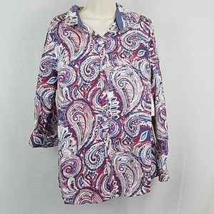 Charter Club Tops - Charter Club Roll-Tab Print Shirt Cloud Paisley